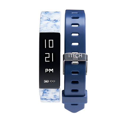 iTECH SPORT Fitness Tracker: Blue Print Strap with Free Blue Strap