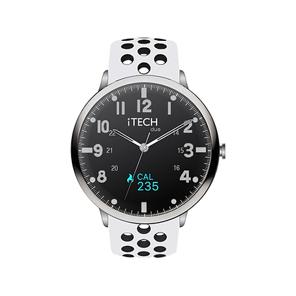 iTECH Duo Analog Smartwatch: White/Black Strap with Silver Case
