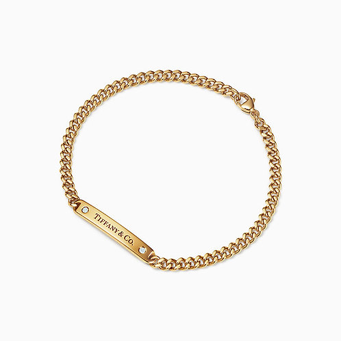 Micro Link Bracelet in 18k Gold with Diamonds