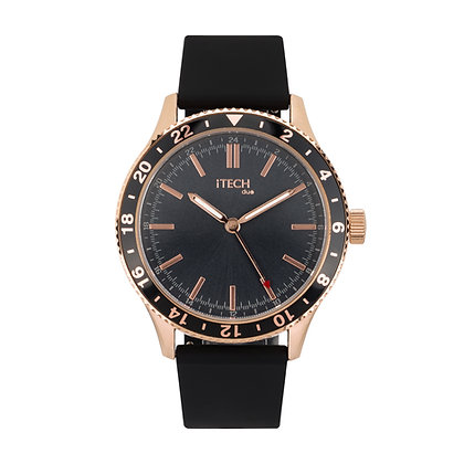 iTECH Duo Analog Smartwatch: Black Strap with Rose Gold Case