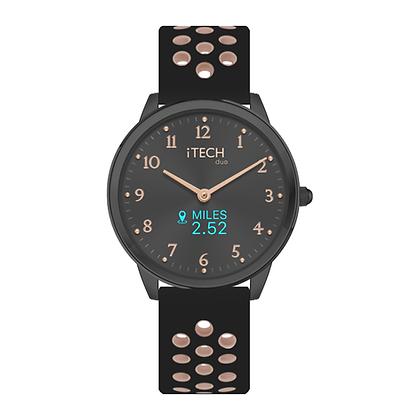 iTECH Duo Analog Smartwatch: Black/Blush Strap with Black Case