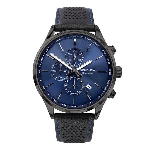 Sekonda Men's Black Leather Strap Watch