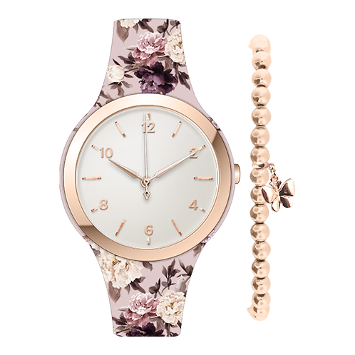 ROSE GOLD/FLORAL WATCH & BRACELET