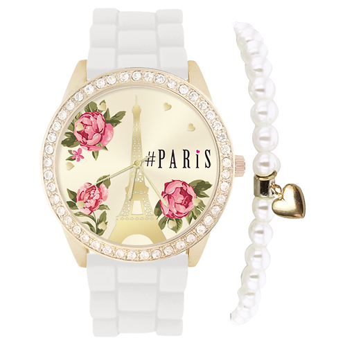 GOLD/WHITE PARIS FLORAL WATCH & BRACELET
