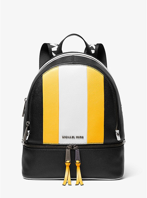 Rhea Medium Striped Pebbled Leather Backpack