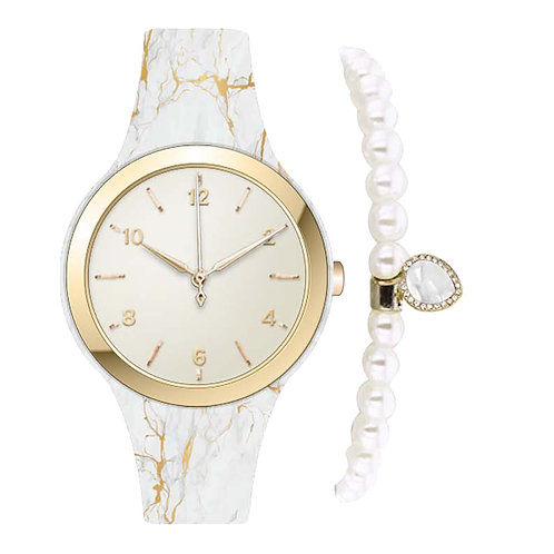 GOLD/WHITE MARBLE PRINT WATCH & BRACELET
