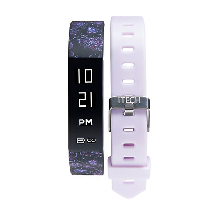 iTECH SPORT Fitness Tracker: Purple Flower Strap with Free Lavender Strap
