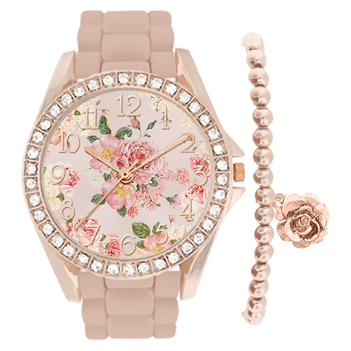 ROSE GOLD/BLUSH FLORAL WATCH & BRACELET