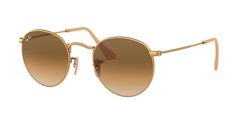 RAY-BAN ROUND METAL Gold Light Brown Gradient