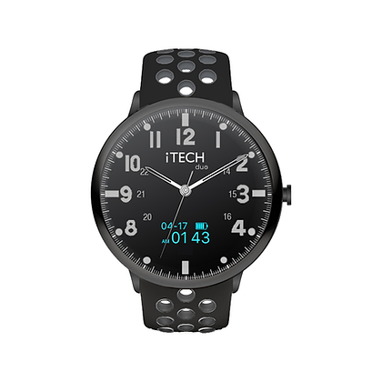 iTECH Duo Analog Smartwatch: Black/Grey Strap with Black Case