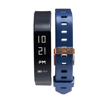 copy of iTECH SPORT Fitness Tracker: Black Strap with Free Navy Strap