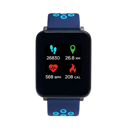 iTECH Fusion: Navy/Turquoise Strap with Black Case