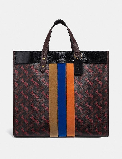 Coach Field Tote 40 With Horse and Carriage Print And Varsity Stripe