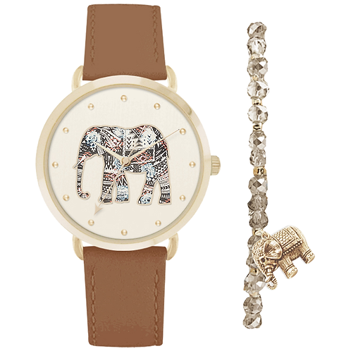 GOLD/COGNAC ELEPHANT WATCH & BRACELET