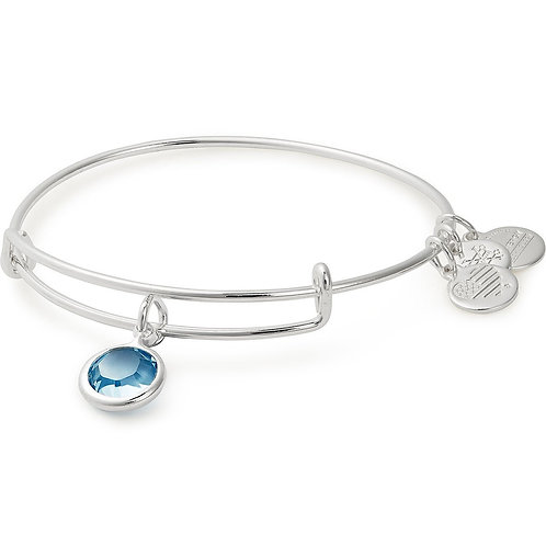 Aquamarine Birthstone Charm Bangle With Swarovski® Crystals Shiny Silver