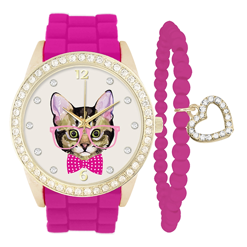 GOLD/FUCHSIA CAT WATCH & BRACELET