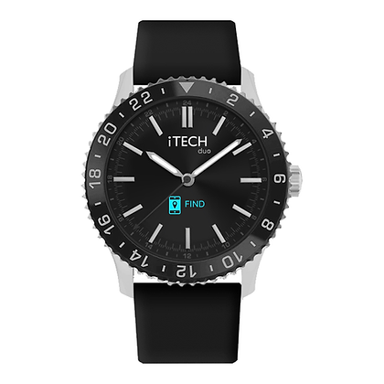 iTECH Duo Analog Smartwatch: Black Strap with Silver Case