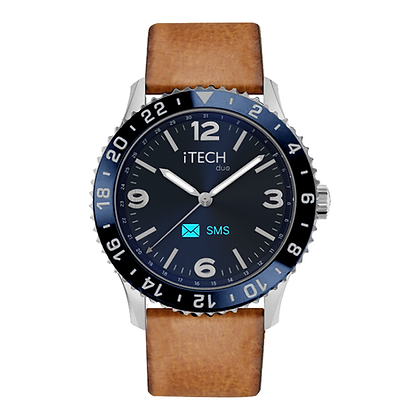 iTECH Duo Analog Smartwatch: Cognac Strap with Silver Case