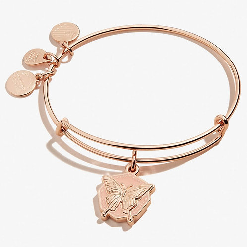 Butterfly Color Infusion Charm Bangle Shiny Rose Gold