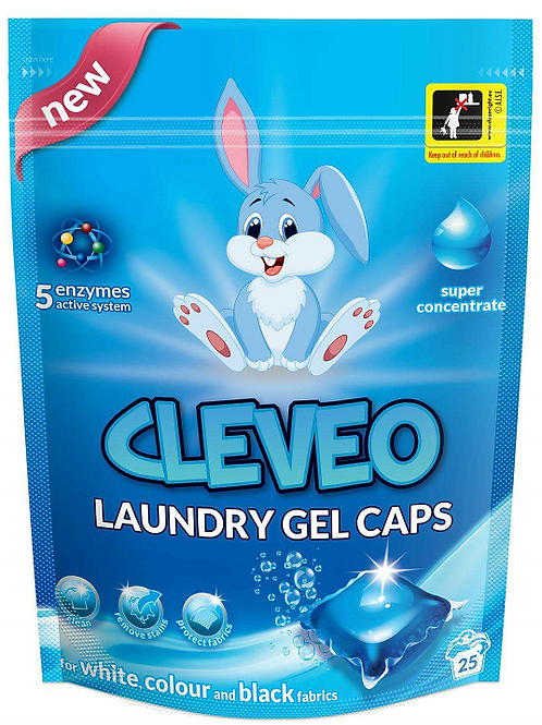 CLEVEO Laundry Gel Caps COLOUR WHITE BLACK 25Ks