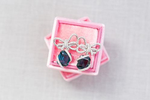 London Blue Topaz and Diamond Bow Earrings