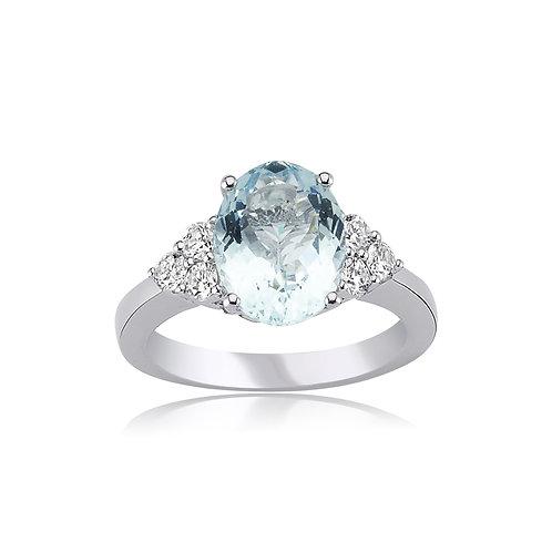 Oval Aquamarine and Diamond Ring
