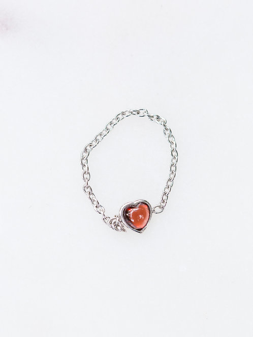 Garnet Heart Chain Ring