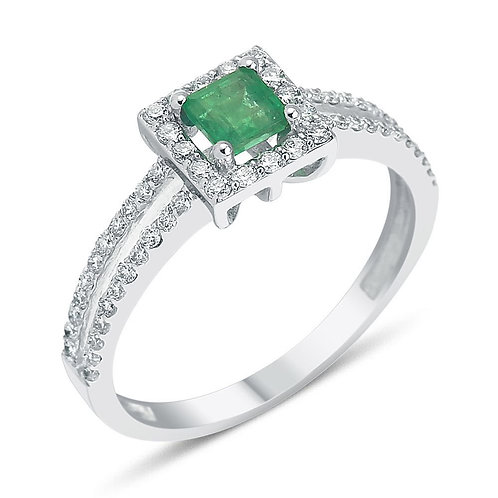 Double Band Emerald and Diamond Ring