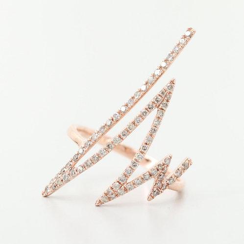Thunderbolt Diamond Ring 14K Rose Gold