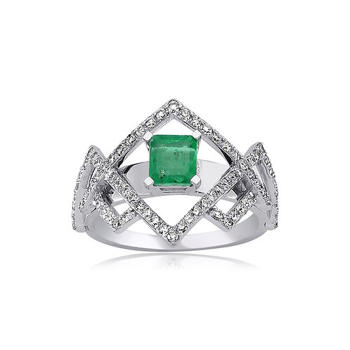 Emerald and Diamond ZigzagRing