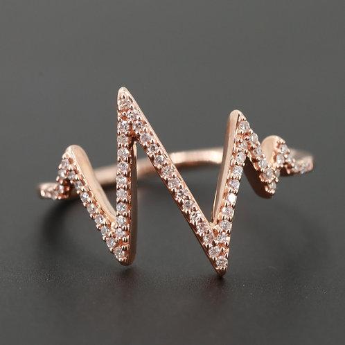 Diamond Zigzag 10K Rose Gold Ring