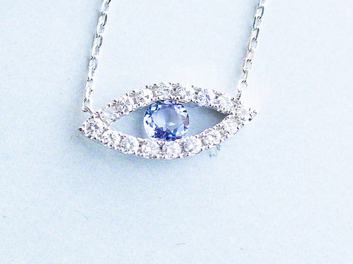 White Gold and Tanzanite Evil Eye Necklace