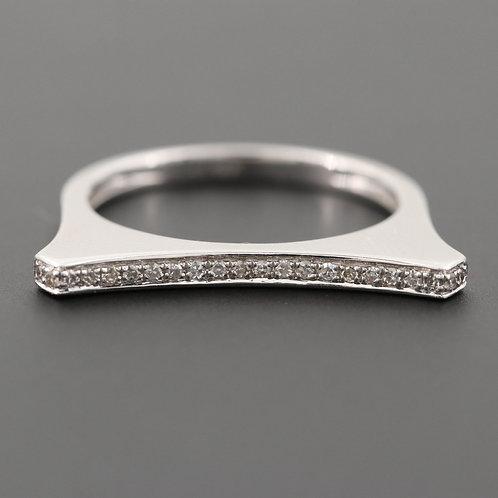 U Diamond Bar Ring 14K White Gold