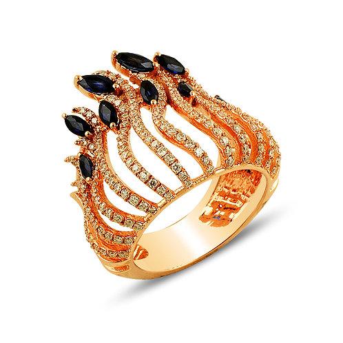 Sapphire Peacock Ring