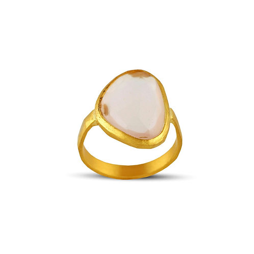 Rose Quartz and Gold Ring