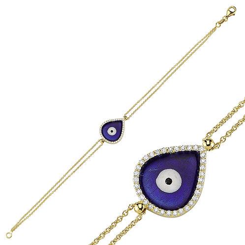 Large Teardrop Evil eye bracelet