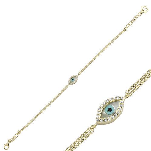 Yellow Gold Mother of Pearl Evil Eye Bracelet