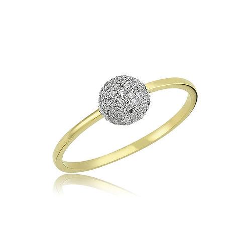 18K Gold and Diamond Ball Ring