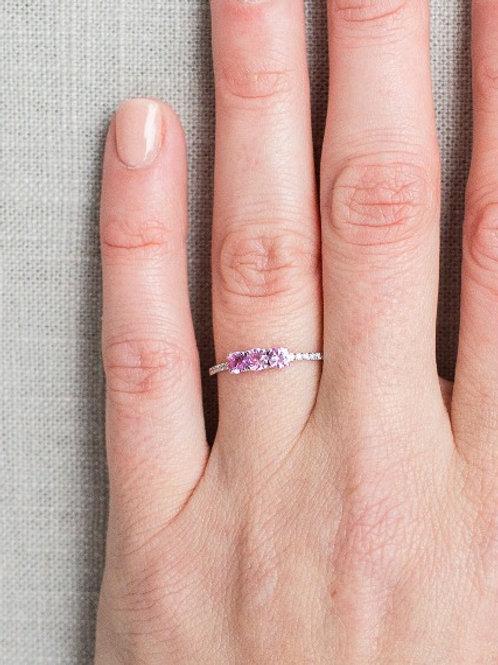 Pink Sapphire Trio Ring