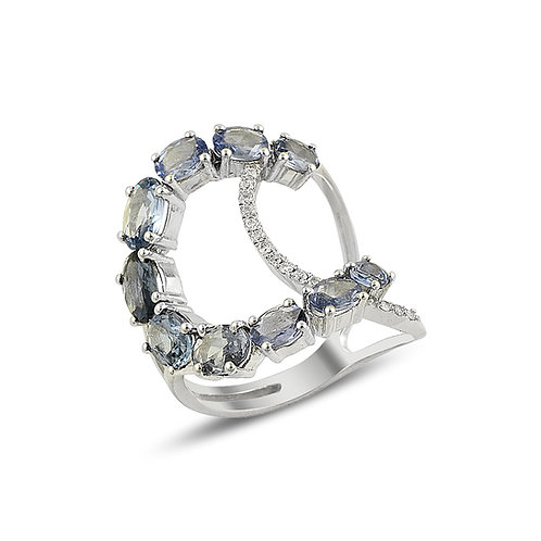 Rose Cut Sapphire and Diamond Ring