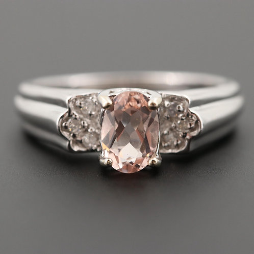 Vintage Morganite 14K white Gold Ring