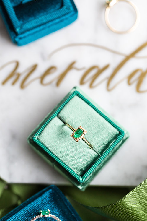 Rectangle yellow gold emerald and diamond ring