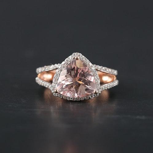 Morganite Triangle Ring