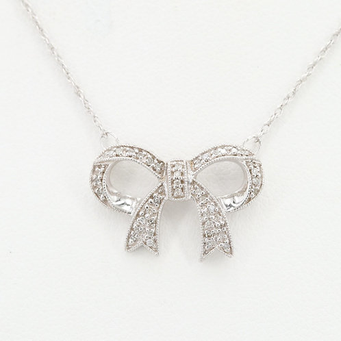 Diamond Ribbon Necklace 14K White Gold