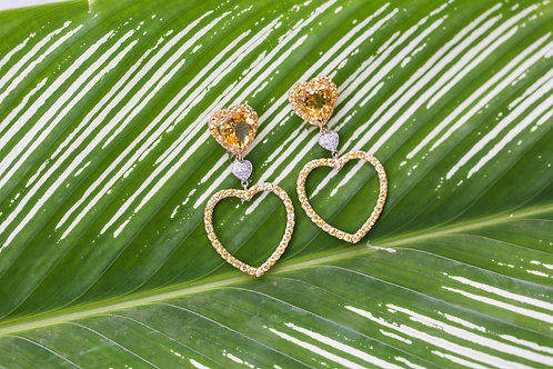 Citrine and yellow sapphire heart earrings