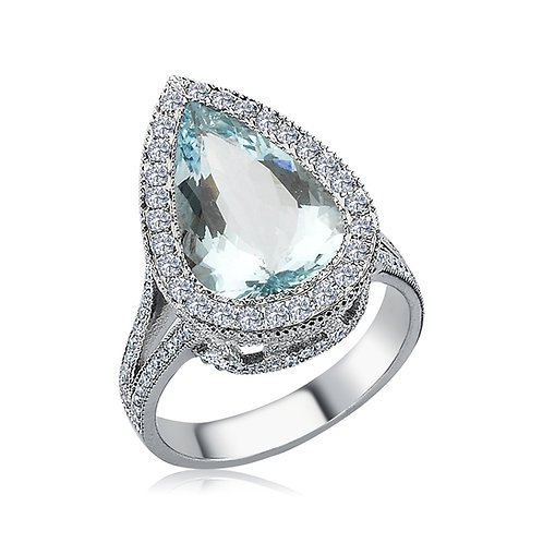 Tear drop Aquamarine Ring