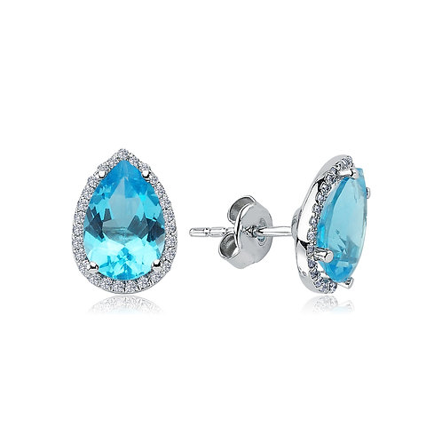 Blue Topaz Teardrop earrings with diamonds