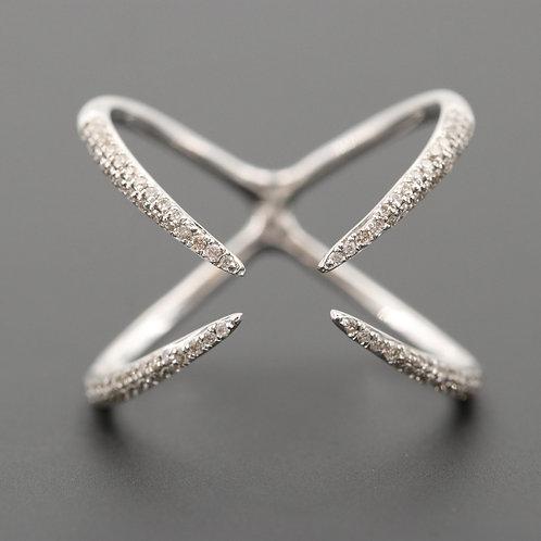 Diamond X Ring 14K White Gold