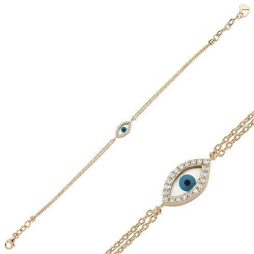 Rose Gold mother of pearl Evil Eye Bracelet