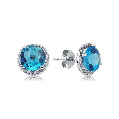 Round Topaz and Diamond Earrings